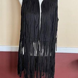 NWT retro fringed open long vest size large